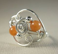Wire Wrapped Ring Sterling Silver and Peach by holmescraft on Etsy, $22.00