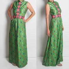 SOLD OUT. 1960s EmilioBorghese Italy Green MAXI dress. A Curated Selection of Vintage Style from A Part of the Rest Vintage