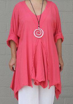 OH MY GAUZE Cotton Lagenlook RENNE Flared Godet Tunic Top OS 1X/2X/3X CANDY #OHMYGAUZE #Tunic #Versatile