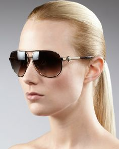 Classic Aviator Sunglasses  by Alexander McQueen at Bergdorf Goodman.. Must have!!