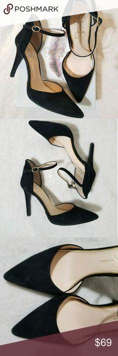 4e209c3a49 Jessica Simpson Black Suede Heels -Beautiful Jessica Simpson Carlette Suede  Ankle Heels -Original Box
