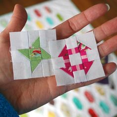 (7) Name: 'Quilting : Churn Dash Mini Quilt Block