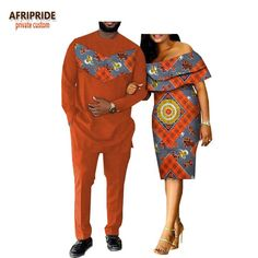 2018 Spring Casual Couple Suit Afripride Mens Full Length Long Shirt+Pants And Butterfly Sleeve Knee-Length Women Dress Older Women Fashion, African Print Fashion, Latest Fashion For Women, Ladies Fashion, Unique Fashion, African Print Dresses, African Fashion Dresses, African Dress, African Attire