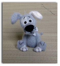 Chiot OOAK petit chien farcies animaux au Crochet fait par Tjan