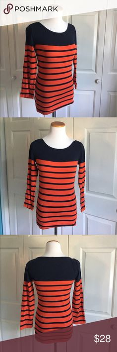 J.Crew Striped Sailor Top 3/4 sleeve striped tee from j.crew. Navy blue and reddish orange colored. Excellent condition. J. Crew Tops Tees - Long Sleeve