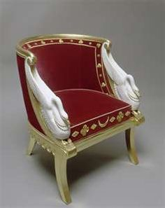 Swans: ~ Gondola chair belonging to Empress Josephine of France, attributed to Jacob Frères, painted and bronzed wood, red velvet upholstery, circa Victorian Furniture, French Furniture, Classic Furniture, Furniture Styles, Unique Furniture, Furniture Design, Chateau De Malmaison, La Malmaison, Empress Josephine