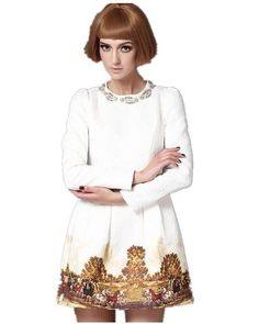 Sheinside White Long Sleeve Metal Beading Neckline Retro Print Dress (S, White)