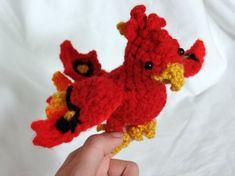 Phoenix Red Plush Crochet Sparix by BuggabeeBaubles on Etsy