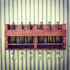 Wood Wine Rack Wine Storage Hanging Wine Rack 6 Bottle Wine Rack Red Oak (We would use this for beer of course)