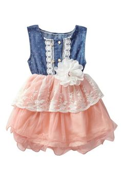 Denim Lace Cutout Tutu Dress (Baby, Toddler, & Little Girls) by Pop Couture on @HauteLook