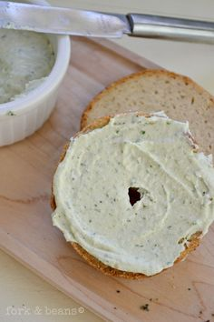 "Your new favorite bagel topper: this vegan Raw Garden Herb Spreadable ""Cheese""."