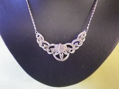 Art Deco Marcasite Silver Tone Necklace by EternalElementsEtsy