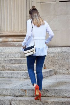pleated top with ski
