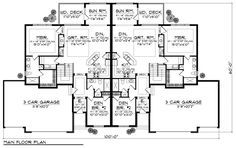 Multi-Family Plan 73455 - Traditional Style with 4762 Sq Ft, 6 Bed, 4 Bath, 2 Bath Town House Floor Plan, Ranch House Plans, Best House Plans, Dream House Plans, 6 Bedroom House Plans, Duplex Floor Plans, One Level Homes, Garage Apartment Plans, Townhouse Designs