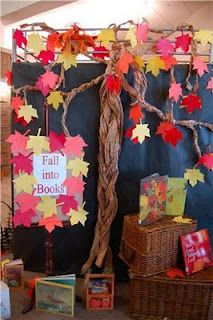 """""""Fall Into Books"""" library display"""