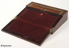 antique lap desk or portable desk or writing slope of rosewood and brass
