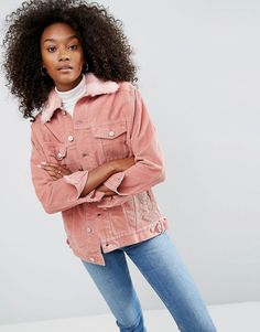 Bild 1 von ASOS Cord Girlfriend Jacket in Dusty Pink with Detachable Faux Fur Collar