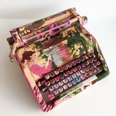 A typewriter by Swedish designer Ulla-Stina Wikander, who covers 1970s household objects in second-hand cross-stitches