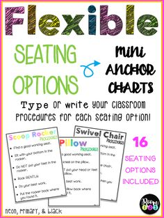 Flexible Seating Options Mini Anchor Charts
