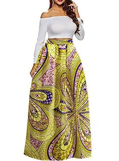 1c94c0501575ca $16.98 - Uideazone Women African Floral Maxi Skirts High Waist A Line Long  Skirts Pockets