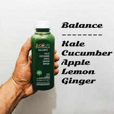 Introducing our new juice to the JugoLife line up.  Balance: made with kale cucumber Apple lemon and ginger.  I know some of our juice recipes has a ton of different ingredients but I think it's good to just have a simple one as well too. That's why we made Balance for those people that hate cilantro hate celery and love ginger. This ones for you . Will be available starting tomorrow . Don't forget we are now open Monday's in town from 8am-7pm.