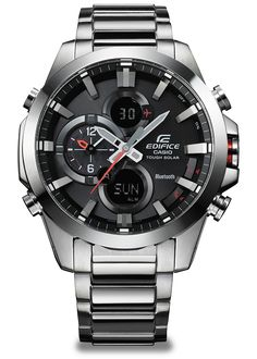 Linking the watch to a smartphone provides access to the correct time, not only in the current location but in any of 300 cities around the world. Alarm setting and control over various other function