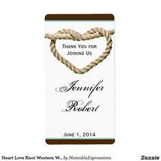 Heart Love Knot Western Wedding Wine Label