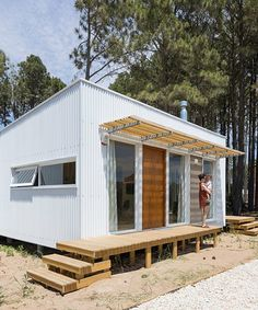 Metal Facade, Metal Siding, White Cabin, White Cottage, Corrugated Metal, Steel House, Exterior Siding, Metal Homes, House Colors