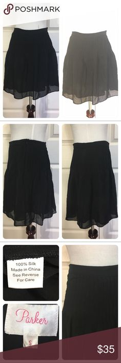 Parker silk pleated skirt Great luxurious black silk skirt from Parker. All around pleats. No flaws noted. Needs to go to cleaners to press pleats. Parker Skirts