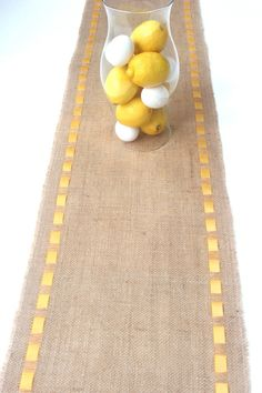 Burlap Table Runner With Yellow Satin Ribbon - Rustic Easter - Celebrate Spring - Refresh & Renew - Rustic Chic Home Decor. $24.00, via Etsy.