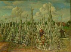 G.Pancaldi - Vita contadina, raccolto della canapa (3)  metà '900 olio su tela 85x105