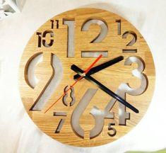 Wooden Wall Clock, Wood Clock, Handmade Clock, Oak Clock, Gift for couple, Scroll Saw, Eco Clock, Ki Wall Clock Wooden, Wood Clocks, Wooden Walls, Wall Wood, Handmade Wall Clocks, Kitchen Clocks, Diy Bird Feeder, Diy Clock, Scroll Saw Patterns