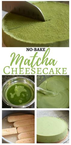 Easy No-Bake Matcha Cheesecake with just a hint of matcha tea and pretty green color.