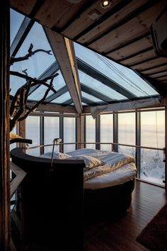 Finland: Spacious, luxurious and utterly unique, the Eagles View Suite at Iso Syote Hotel is a spectacular two-floor accommodation built around a growing tree. The outstanding design along with the topnotch amenities and stunning glass roof and walls that afford million dollar views of summer's midnight sun and winter's Northern Lights, make this space an exclusive, year-round oasis.