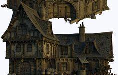 medieval tavern - Google Search Medieval Houses, Wooden Dollhouse, Renaissance Fair, Map Art, Game Design, Big Ben, Scenery, Castle, Miniatures