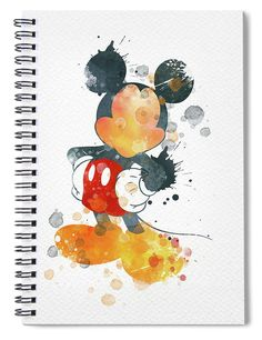 Watercolor Art Landscape, Watercolor Art Face, Watercolor Disney, Watercolor Canvas, Canvas Art, Canvas Prints, Mickey Mouse Frame, Disney Paintings, Notebooks For Sale