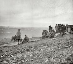 """December 15, 1864. """"Nashville, Tennessee. Battle of Nashville. Spectators watching the fight between generals Hood and Thomas."""" Photograph by George N. Barnard. Civil War glass negative collection, Library of Congress.  From www.shorpy.com  Q"""