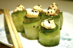 Cucumber Roll Cucumber Rolls, Elegant Appetizers, Hors D'oeuvres, Stop Eating, Sashimi, Japanese Food, Low Carb Recipes, Seafood, Avocado
