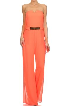 How would you style the Jumpsuit ? Peach Strapless Full Length Jumpsuit.