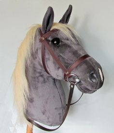 Handsome dark grey horse with flaxen mane. Horse Galloping, Breyer Horses, Rocking Horse Plans, Plush Horse, Horse Birthday Parties, Stick Horses, Year Of The Horse, Horse Pattern, Horse Crafts