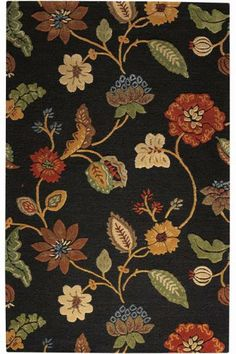 """Love Jacobean Florals on a dark background! """"soft, wool blend pile that feels plush underfoot, yet is durable enough for your high traffic areas."""" #HomeDecorators"""