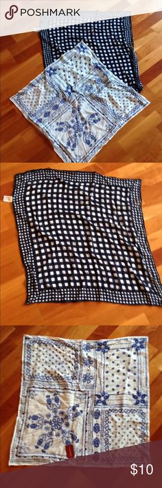 Two beautiful Merona new scarfs Two beautiful cotton scarves brand new with tag blue and white perfect for vacation or on a cruise Merona Accessories Scarves & Wraps