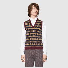 Gucci Homme - Gilet en laine et lurex à motif Argyle