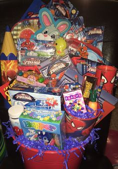 Spider-Man Filled Easter Basket by GingerellasBows on Etsy Filled Easter Baskets, Milka Chocolate, Easter Buckets, Candy Party Favors, Easter Candy, Gift Baskets, Spiderman, Action Figures, Buy And Sell