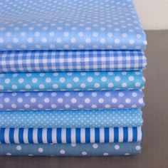 DIY Craft Base Blue Series Polka Dot/Stripe/Check Cotton Fabric for Patchwork,Sewing,Quilt,Tilda Doll Cloth Patchwork Fabric, Buy Fabric, Cotton Fabric, Blue And White Fabric, Fabric Pictures, Gorgeous Fabrics, Shabby, Fabric Patterns, Craft