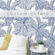 Peel and stick Wallpaper Leaves Blue and White Removable Self Adhesive Traditional Wallpaper Mural C