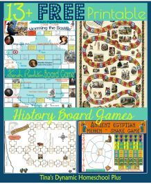 13 Free Printable History Board Games from Tina's Dynamic Homeschool Plus