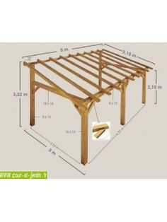 This SHERWOOD wood awning is a wooden carport leaned or . This SHERWOOD wooden awning is a back-to-back wooden carport or wooden terrace shel - Carport Adossé, Carport Kits, Modern Carport, Carport Ideas, Garage Kits, Wood Pergola, Pergola Patio, Gazebo, Wisteria Pergola