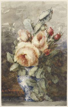 Adrienne Jacqueline s' Jacob | Boeket rozen in een vaas, Adrienne Jacqueline s' Jacob, 1867 - 1920 |