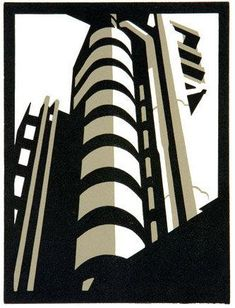 Lloyd building- By Paul Catherall -  Linocut print